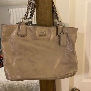 Coach grey sparkle suede purse